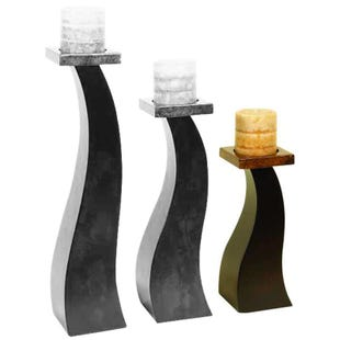 Brown Abstract Wood Candle Holder Small