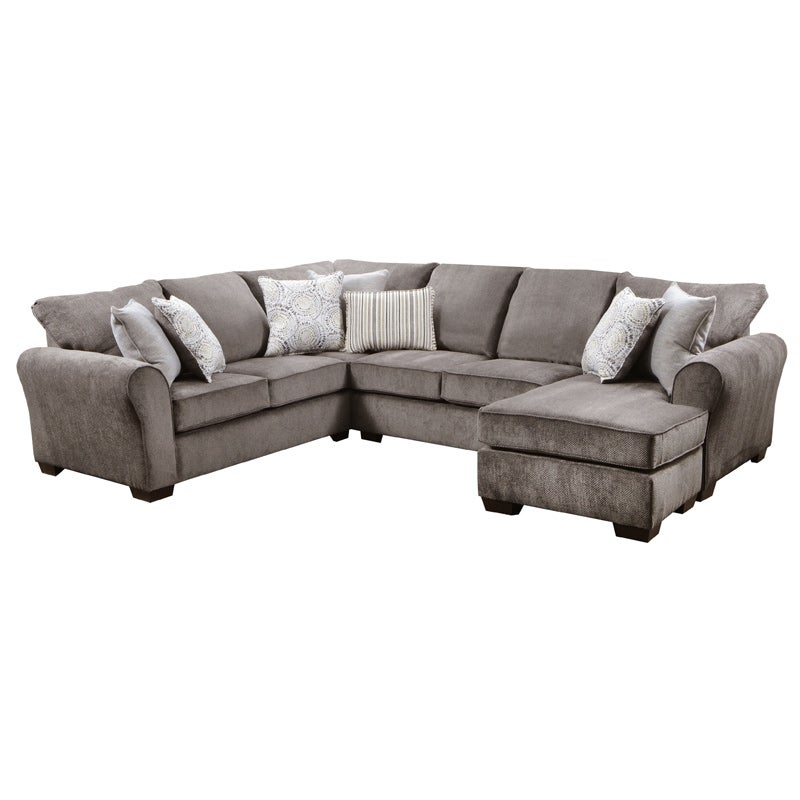 Simmons Harbor Charcoal Chenille Queen Sleeper Sectional | Weekends Only  Furniture