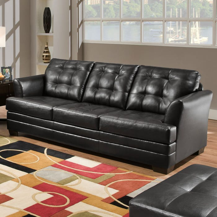 Simmons Faux Leather Black Tufted Sofa
