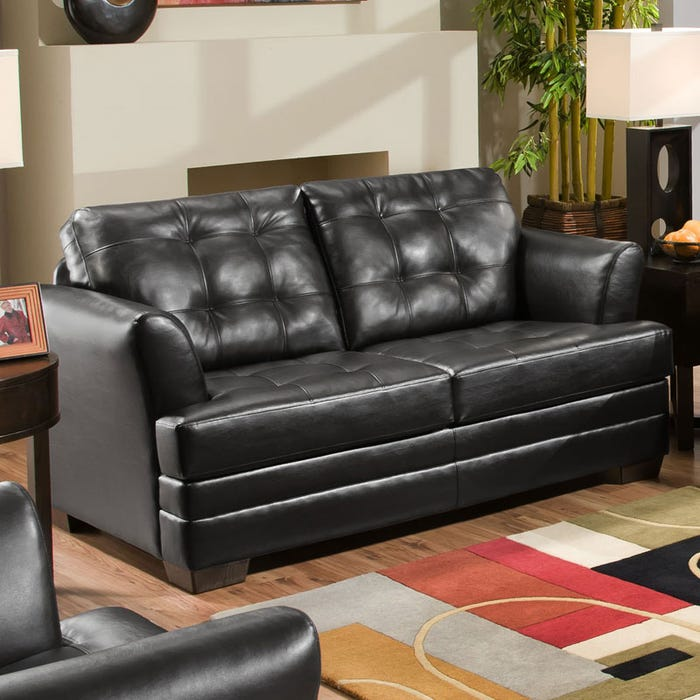 Astounding Simmons Faux Leather Black Tufted Loveseat Frankydiablos Diy Chair Ideas Frankydiabloscom