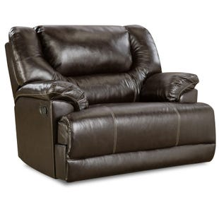 Simmons Bingo Brown Faux Leather Cuddler Recliner