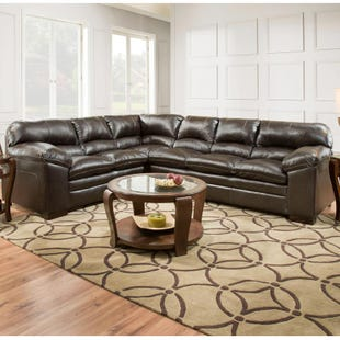 Simmons Bingo Brown Padded Sectional