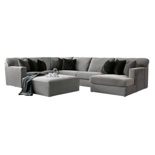 Carlsbad 3 Piece Gray Velvet Right Facing Chaise Sectional