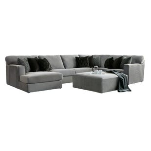 Carlsbad 3 Piece Gray Velvet Left Facing Chaise Sectional