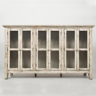 "Rustic Shores 70"" White Console with 6 Glass Doors"