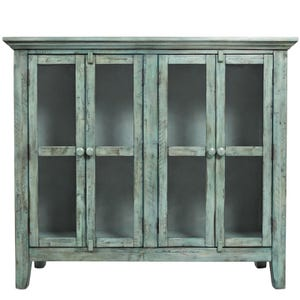"Rustic Shores 48"" Blue Console with 4 Doors"