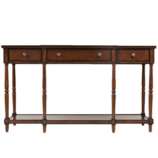 "Stately Breakfront Design 60"" Mahogany with 3 Drawer Console"