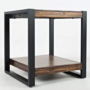 Loftworks Metal and Wood Rustic End Table