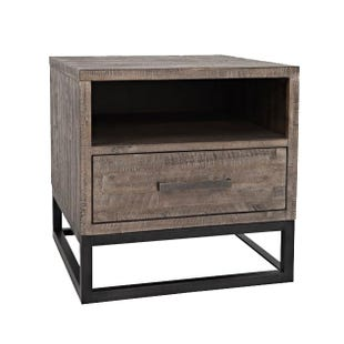 East Hampton Distresssed Gray and Iron End Table