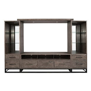 "East Hampton Distressed Wood/Metal 114"" Lighted Wall Unit"