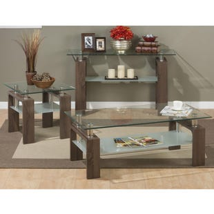 Compass Square Wood and Glass Cocktail Table