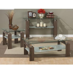 Compass Wood and Glass End Table