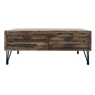 Blackstone Brown/Metal Coffee Table with 2 Pull Drawers