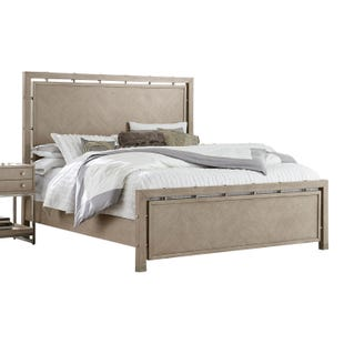 Sutton Place Gray and Metal King Panel Bed