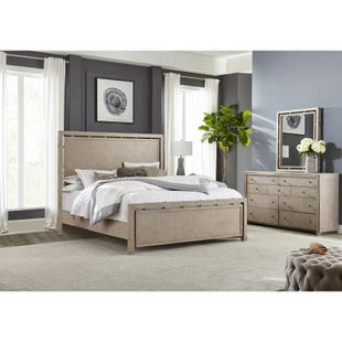 Sutton Place Gray and Metal King 3 Piece Bedroom Set