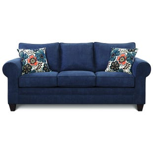 Styleline Darling Navy Twill Roll Arm Sofa