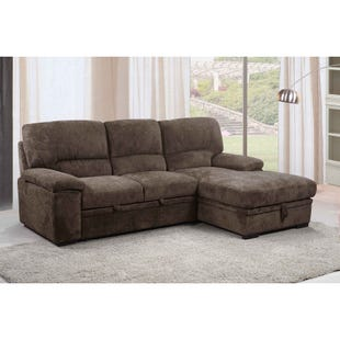 Tessaro 2 Pc Brown Chenille Media Sleeper Sofa Chaise