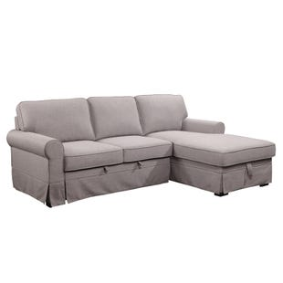 Astoria 2 Piece Gray Linen Sofa Chaise with Popup Ottoman