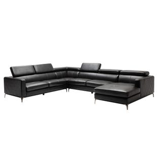 Modena Quilted Faux Leather Sectional 4 Pc Black