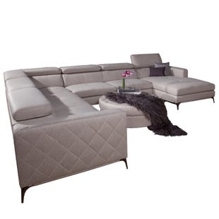 Modena Cream  Faux Leather Sectional