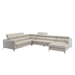 Modena Beige Faux Leather Modern 4 Pc Sectional