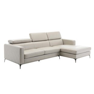 Modena Beige Faux Leather Modern 2 Pc Sectional
