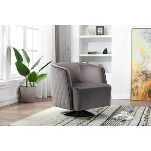 Holden Gray Swivel Chair with Chrome Base