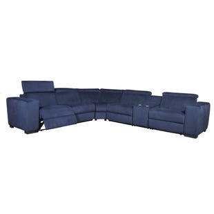 Blast Navy Blue Dual Power Reclining Sectional