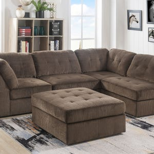 Jericho Chocolate Chenille 5 Piece Sectional