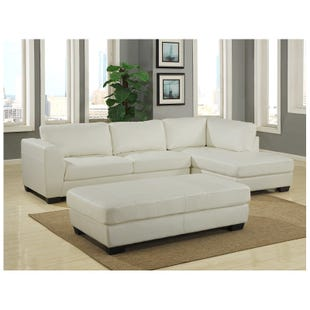 Rowan White Faux Leather Sectional