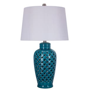 Natalia Blue Ceramic Criss-Cross Table Lamp