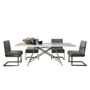 Coral 5 Piece Dining Set White and Stainless Steel