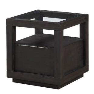 Oxford Gray Wood and Glass Storage End Table