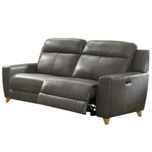 Cayden Gray Faux Leather Power Reclining Sofa