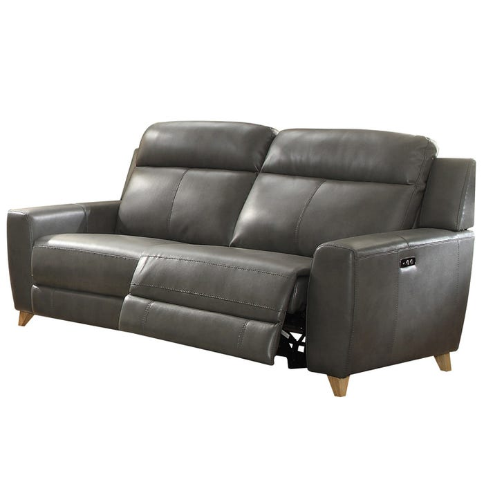 Phenomenal Cayden Gray Faux Leather Power Reclining Sofa Pdpeps Interior Chair Design Pdpepsorg