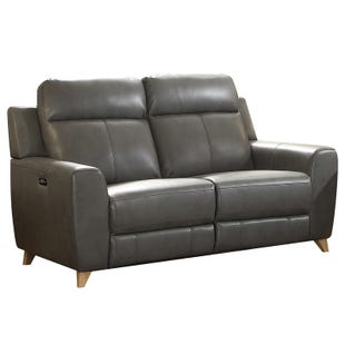 Cayden Gray Faux Leather Power Reclining Loveseat