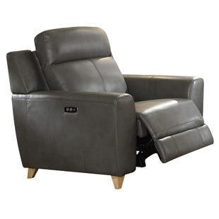 Cayden Gray Faux Leather Power Recliner