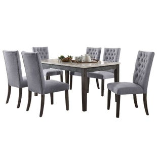 Tabello 7 Piece Gray/Marble Dining Set