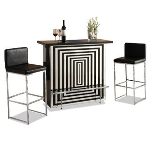 Trinity Black and Silver Mirrored Bar and 2 Stools