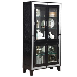 Monique Black and Silver Mirrored Curio Cabinet