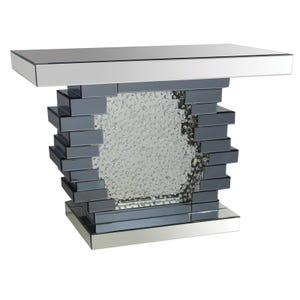 Cherish Silver Mirrored Console With Floating Crystals