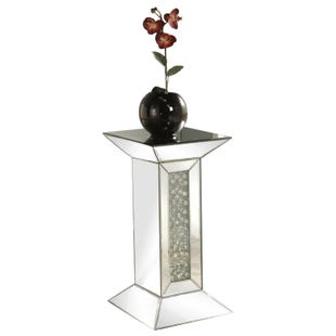Maximo Silver Mirrored Pedestal Side Table