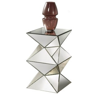 Sophia Silver Mirrored Geometric Pedestal Side Table