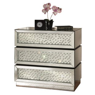 Glitz Silver Mirrored Accent Cabinet with Floating Crystals