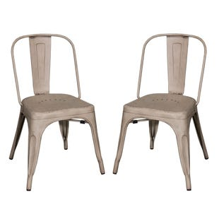 Vintage Cream/Metal Set of 2 Chairs