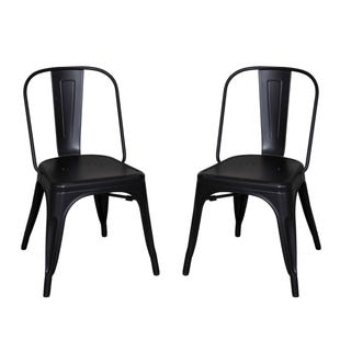 Vintage Black/Metal Set of 2 Chairs