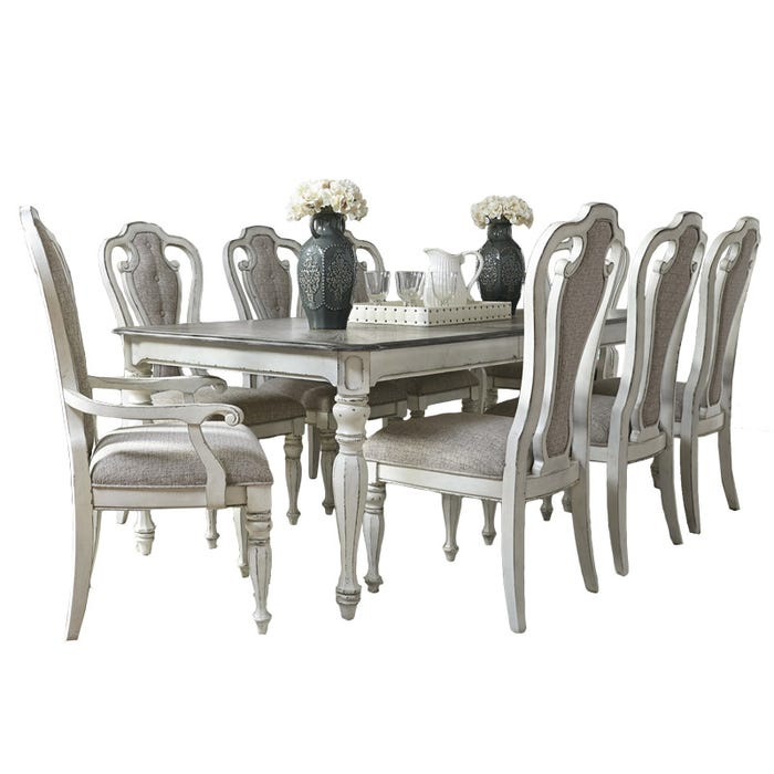 Magnolia Manor 9 Piece Distressed Antique White Extendable Dining Set Weekends Only Furniture