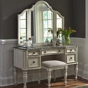 Magnolia Manor Antique White Vanity Dresser and Mirror