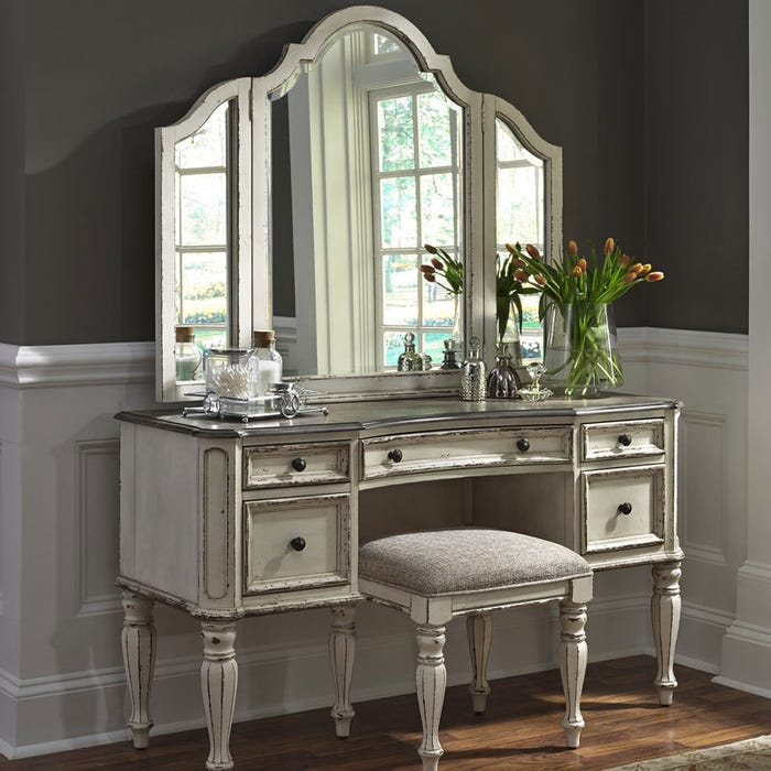 Magnolia Manor Antique White Vanity Dresser And Mirror Weekends