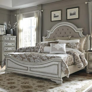 Magnolia Manor Antique White Upholstered King Panel Bed